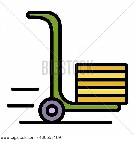 Hand Wheel Truck Icon. Outline Hand Wheel Truck Vector Icon Color Flat Isolated