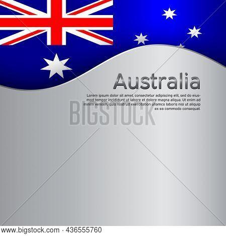 Australia Flag On A Metal Background. National Poster Design. Business Booklet. State Australian Pat