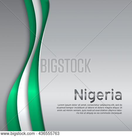 Abstract Waving Nigeria Flag. Creative Metal Background In Nigeria Flag Colors For Holiday Card Desi