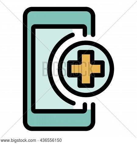 First Help Smartphone Icon. Outline First Help Smartphone Vector Icon Color Flat Isolated