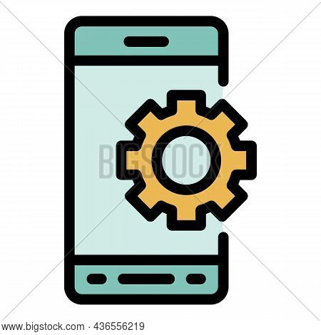 Smartphone Gear Wheel Icon. Outline Smartphone Gear Wheel Vector Icon Color Flat Isolated