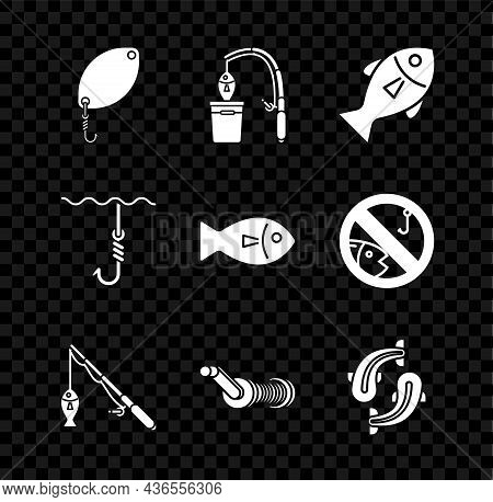 Set Fishing Spoon, Rod And Fish, Spinning Reel For Fishing, Hook Under Water And Icon. Vector