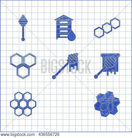 Set Honey Dipper Stick With Dripping Honey, Hive For Bees, Bee And Honeycomb, Honeycomb, And Icon. V
