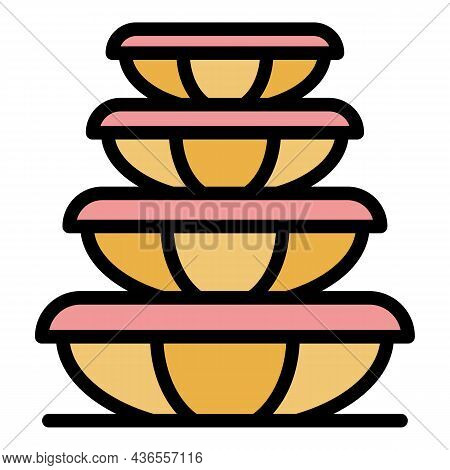 Plastic Food Containers Icon. Outline Plastic Food Containers Vector Icon Color Flat Isolated