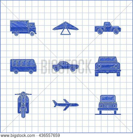 Set Sedan Car, Plane, Car, Off Road, Scooter, Bus, Pickup Truck And Delivery Cargo Vehicle Icon. Vec