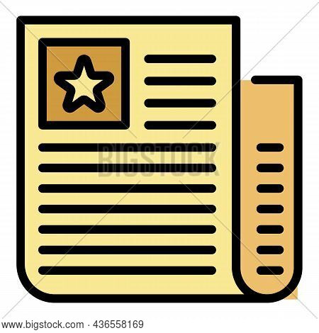 Celebrity Paper Icon. Outline Celebrity Paper Vector Icon Color Flat Isolated