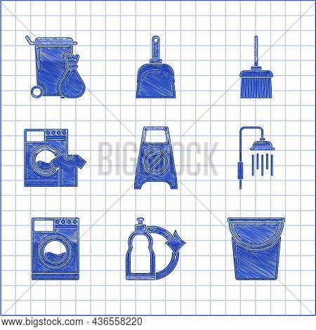 Set Wet Floor And Cleaning In Progress, Plastic Bottles For Liquid Dishwashing Liquid, Bucket, Showe