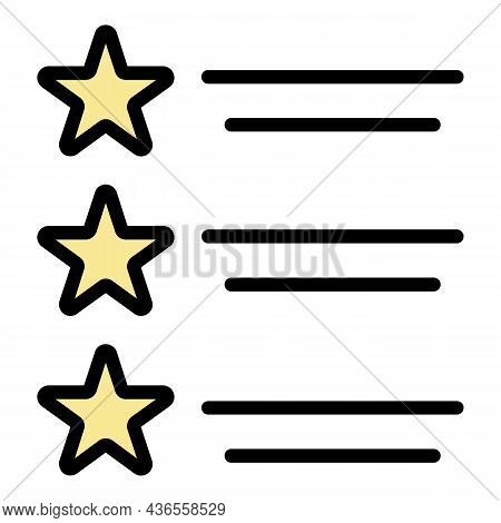 Star List Celebrity Icon. Outline Star List Celebrity Vector Icon Color Flat Isolated