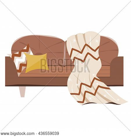 Cozy Sofa With A Plaid And Pillows In The Scandinavian Style Isolated On A White Background.vector I