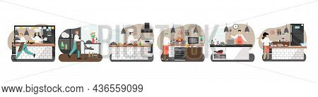 Commercial Kitchen Scene Set. Chef, Confectioner, Waiter Characters, Vector Illustration. Restaurant