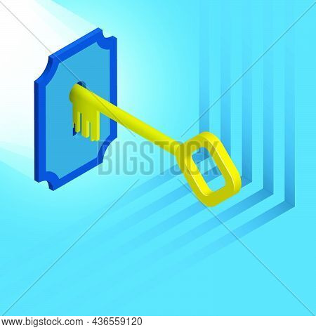 Isometric Golden Key Enters Keyhole. Key Opens Access To Data On Digital Device. Realistic 3d Vector