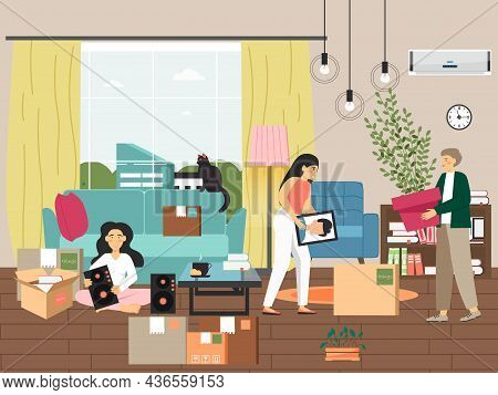 Happy Family Moving To New Home, Vector Illustration. People Pack Things In Cardboard Boxes. Moving