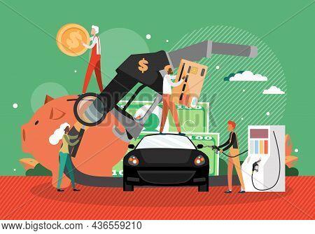 Car Refueling At Petroleum Station. Fuel Petrol Gas Filling Station, Gasoline Pump Hose, People, Vec