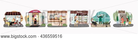 Street Cafe, Bakery, Coffee Shop, Clothing Store, Spa Salon Facade, Exterior With Customers, Flat Ve