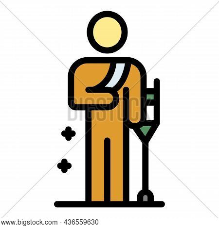Man With Crutches Icon. Outline Man With Crutches Vector Icon Color Flat Isolated
