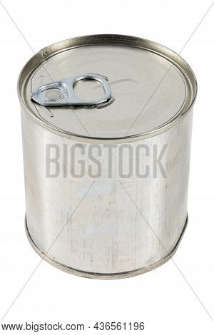 Tin Can With A Pull Ring Standing Vertically Isolated On White Background