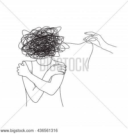 Mental Health Illustration With Woman Hugs Herself,  Line Ball And Hands. Psychotherapy. Psychology