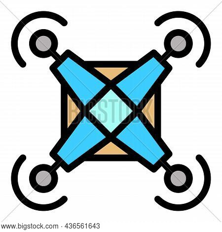 Force Drone Delivery Icon. Outline Force Drone Delivery Vector Icon Color Flat Isolated