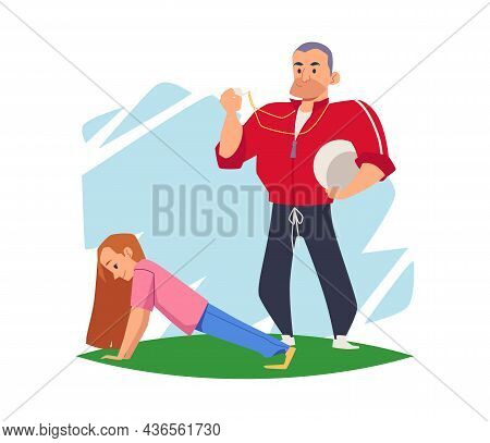 School Girl Doing Sports Under Guidance Of Coach, Vector Illustration Isolated.