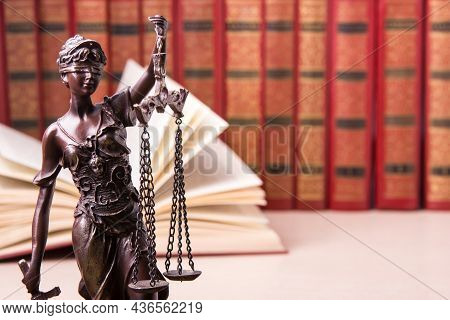 Law Concept - Wooden Judges Gavel And Book On Table In A Courtroom Or Law Enforcement Office. Copy S