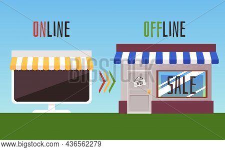 O2o Online To Offline E-commerce Vector Concept. Shopping Offline Vs Shopping Online.