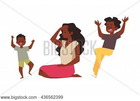 Black Mom Is Tired And Sad Because Of Noisy Kids. African American Mother Exhausted And Having Heada