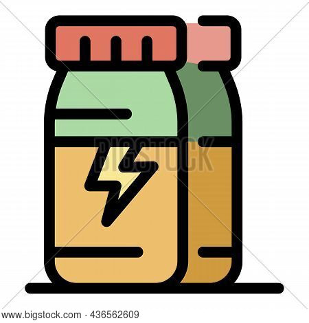 Caffeine Energy Drink Icon. Outline Caffeine Energy Drink Vector Icon Color Flat Isolated