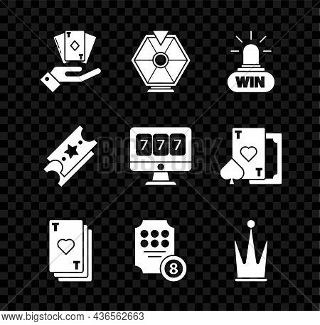 Set Hand Holding Deck Of Playing Cards, Lucky Wheel, Casino Win, Playing With Heart, Online Slot Mac