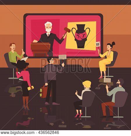 People Buy Art On Online Auction Virtual Platform. Remote Art Auction Vector Illustration Concept.