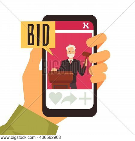 Hand Holding Smart Phone With Online Auction App On It Vector Concept.