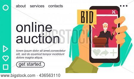 Landing Page Template With Online Auction Concept, Flat Vector Illustration.