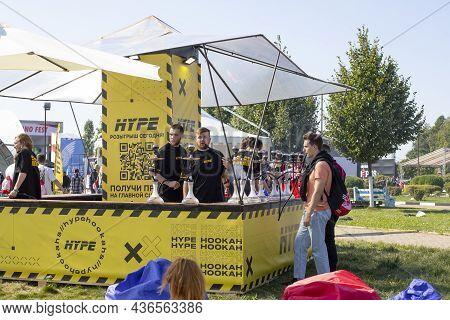 Moscow, Russia - August 28, 2021: Johncalliano Fest 2021 Open Air Hookah Festival Two Hookah Man Pre
