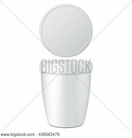 Mockup Closed Cup Tub Food Plastic Container For Dessert, Yogurt, Ice Cream, Sour Cream Or Snack. Il
