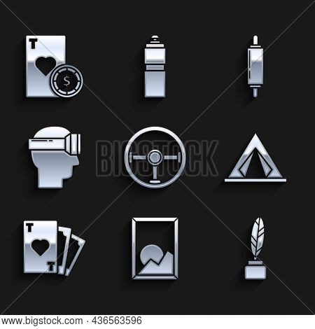 Set Steering Wheel, Picture Landscape, Feather Inkwell, Tourist Tent, Playing Card With Heart Symbol