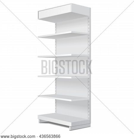 Mockup Blank Empty Showcase Display With Retail Shelves. Perspective View 3d. Illustration Isolated