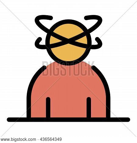 Man Depression Icon. Outline Man Depression Vector Icon Color Flat Isolated