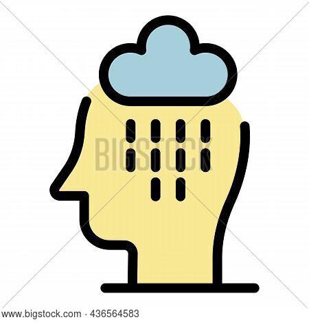 Sad Rain In Head Icon. Outline Sad Rain In Head Vector Icon Color Flat Isolated