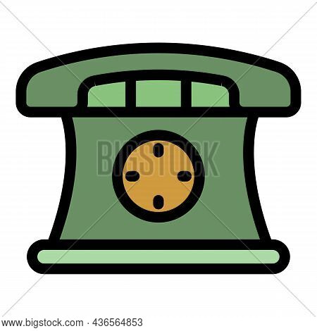 Phone Hot Line Depression Icon. Outline Phone Hot Line Depression Vector Icon Color Flat Isolated