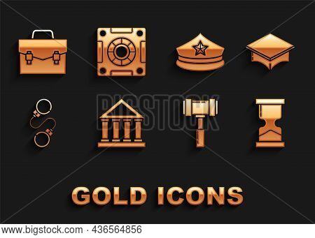 Set Courthouse Building, Graduation Cap, Old Hourglass, Judge Gavel, Handcuffs, Police With Cockade,