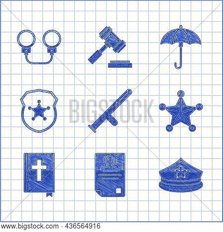 Set Police Rubber Baton, Identification Badge, Cap With Cockade, Hexagram Sheriff, Holy Bible Book,
