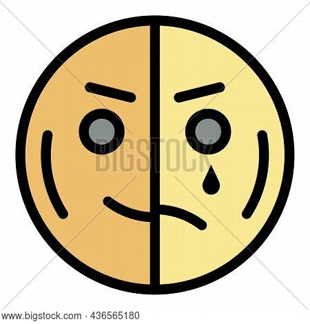 Happy Half Sad Emoji Icon. Outline Happy Half Sad Emoji Vector Icon Color Flat Isolated
