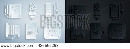 Set Electrical Panel, Extension Cord, Wire Electric Cable Reel Drum, Outlet, Led Light Bulb And Ampe