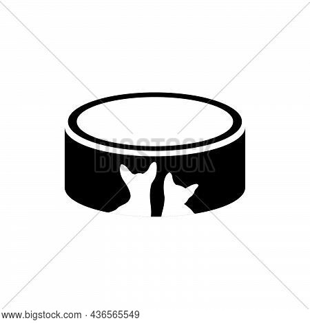 Food Bowl With A Cat Icon. Pet Bowl Line Icon. Pet Food, Accessories For Cats. Veterinary Concept. V