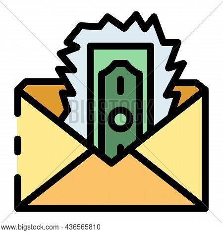 Loss Money Envelope Icon. Outline Loss Money Envelope Vector Icon Color Flat Isolated