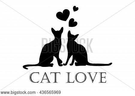 Valentine\'s Day Card, Cats In Love, Couple Of Animals. Concept For A Pet Shop Or Veterinary Clinic.