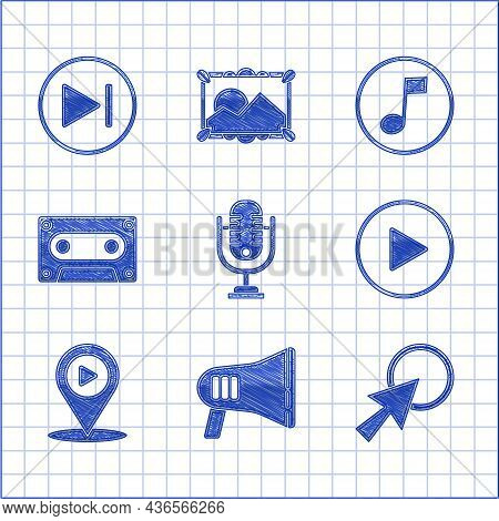 Set Microphone, Megaphone, Arrow Cursor, Play In Circle, Digital Media Play With Location, Retro Aud