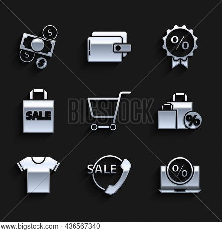 Set Shopping Cart, Telephone 24 Hours Support, Percent Discount And Laptop, Shoping Bag With, T-shir