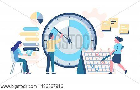 Timetable Managing. Effective Organization. Planning Work Productivity. Office Employees Make Schedu