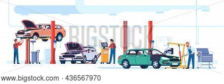 Car Repair Shop. Automotive Workshop. Mechanics Fix Automobiles. Technical Maintenance Service. Auto