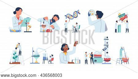 Scientists Characters. Researchers People Work In Lab. Isolated Doctors Exploring Virus And Dna. Che